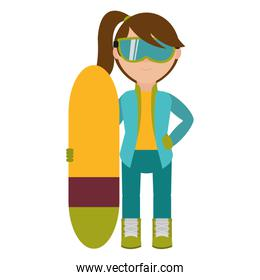 Girl with snowboard design