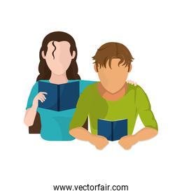 Woman and man reading design