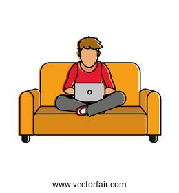 Boy with laptop design