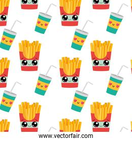 Fries and drink background