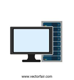 computer monitor with server isolated icon