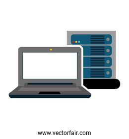 computer with server isolated icon