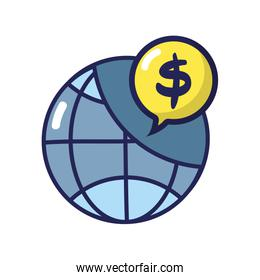 global connection with dollar symbol inside chat bubble