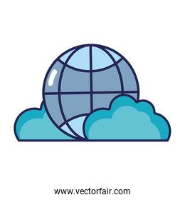 global connection technology with clouds icon