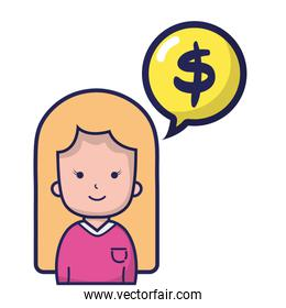 woman with blouse and dollar symbol inside chat bubble