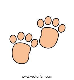 human footprint with toes mark sign
