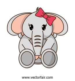 female elephant cute animal with ribbon bow