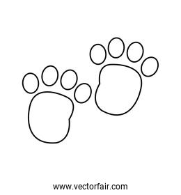 line human footprint with toes mark sign