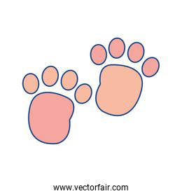line color human footprint with toes mark sign