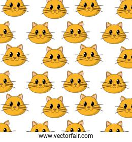 happy cat head cute animal character background