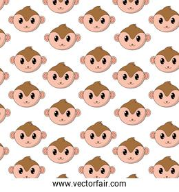 monkey head cute animal character background