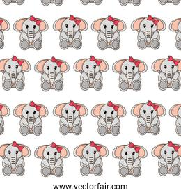 female elephant cute animal with ribbon bow background