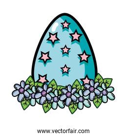 egg easter with star and flower decoration
