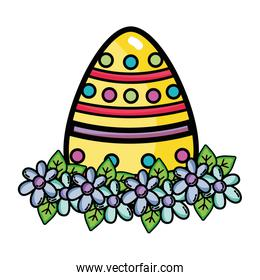egg easter with point figures and flowers decoration