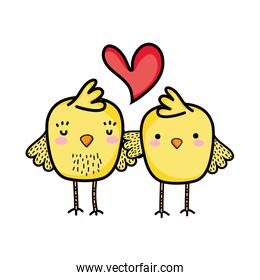 chicks couple together and love heart