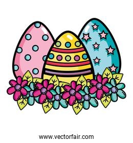 eggs easters decorations with flowers and leaves design