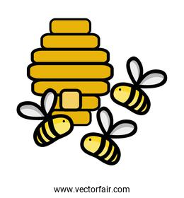 cute bees insect flying about honeycomb