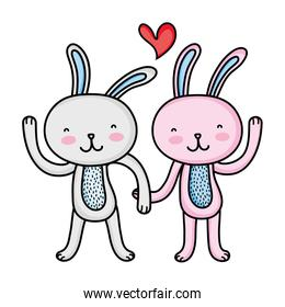 rabbit couple love with hands together