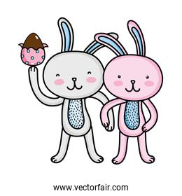 rabbit couple with hands together and egg easter