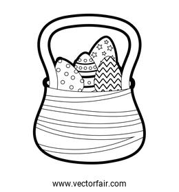 outline eggs easter decoration inside hamper design