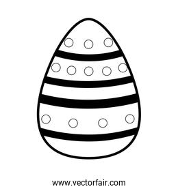outline egg easter with points and figures decoration