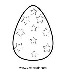 outline egg easter with stars decoration to celebration