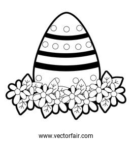 outline egg easter with point figures and flowers decoration