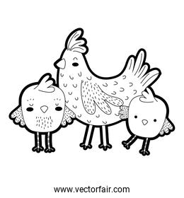 outline hen with chicks farm bird animals