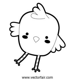outline chick bird farm animal playing