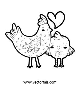 outline hen and chick love and family together