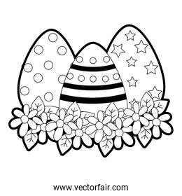 outline eggs easters decorations with flowers and leaves design