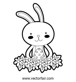 outline rabbit animal with egg easter with flowers