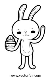 outline happy rabbit animal with egg easter