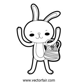 outline rabbit animal with eggs easter inside hamper