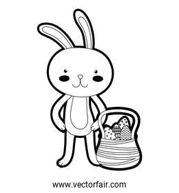 outline rabbit animal and eggs easter inside hamper