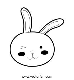 outline funny rabbit head animal cartoon