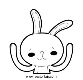 outline happy rabbit animal with hands up