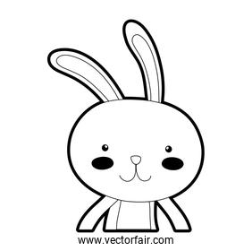 outline happy rabbit animal with facial expression