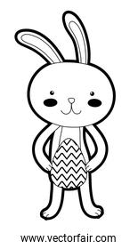 outline rabbit animal with egg easter to holiday celebration