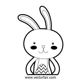 outline rabbit animal with egg easter celebration