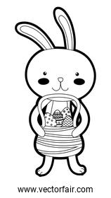 outline rabbit animal with eggs easter decoration inside hamper