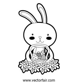outline rabbit animal with eggs easter inside hamper and flowers design