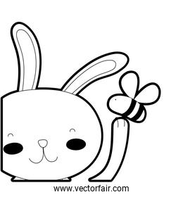 outline cartoon rabbit with bee insect flying