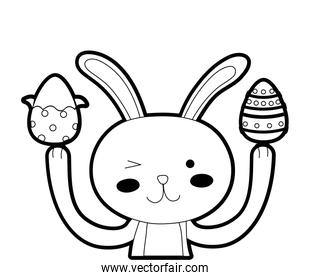outline funny rabbit animal with eggs easter decoration