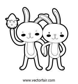 outline rabbit couple with hands together and egg easter