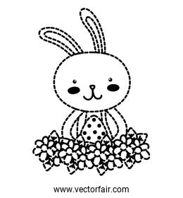 dotted shape rabbit animal with egg easter with flowers