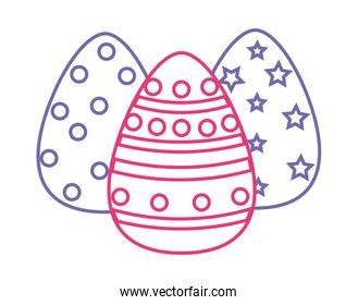 neon line eggs easter with figures points to holiday celebration