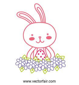 neon line rabbit animal with egg easter with flowers