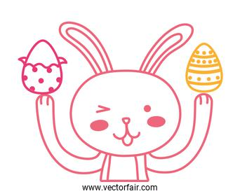 neon line eggs easter decoration and rabbit animal