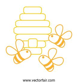 neon line cute bees insect flying about honeycomb